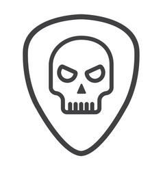 guitar pick with skull line icon music vector image