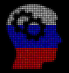 Halftone russian intellect gears icon vector