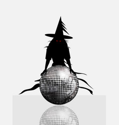 halloween disco ball and spooky witch vector image