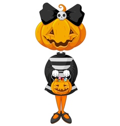 Halloween trick or treating girl vector image