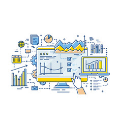 hand analyst pointing at computer display vector image