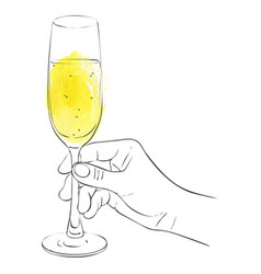 Hand with glass of champagne vector