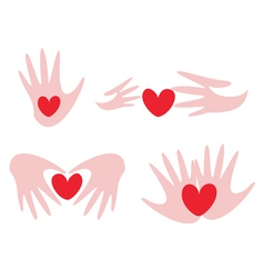 hands and hearts vector image