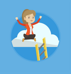 Happy business woman sitting on the cloud vector