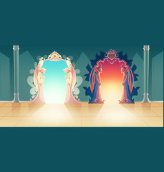 Heaven and hell entrances cartoon concept vector