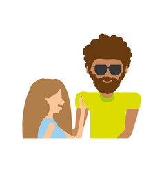 Hipster man with cute girl romantic image vector
