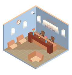 Hotel reception interior in isometric style vector