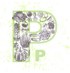 Ink hand drawn fruits and vegetables vitamin pp vector