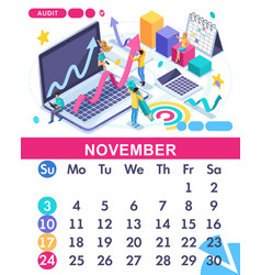 Isometric business calendar of 2019 vector