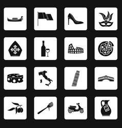 Italia icons set squares vector