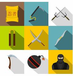 japanese ninja icon set flat style vector image