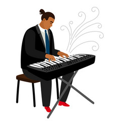 jazz pianist plays on synthesizer cartoon vector image