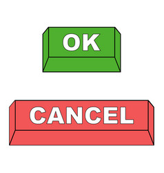 keyboard buttons ok and cancel red vector image