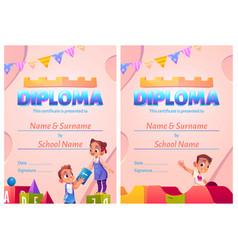 Kids diploma cartoon certificate with children vector