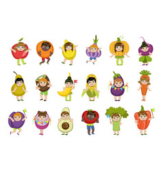 Kids dressed as vegetables vector