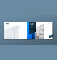 landscape brochure design blue horizontal vector image
