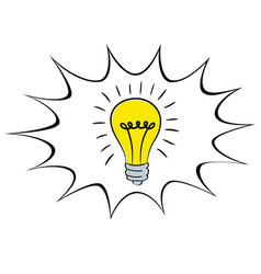 light bulb idea icon cartoon in speech bubble vector image