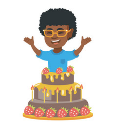 little african boy jumping out of a large cake vector image