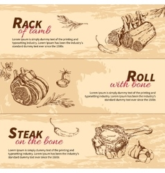Meat Dishes Hand Drawn Banners vector image