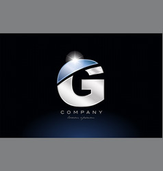 Metal blue alphabet letter g logo company icon vector