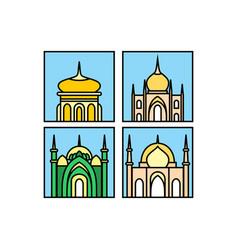 mosque icon mosque muslim islamic symbol vector image