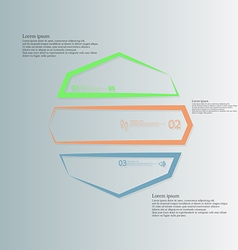 Octagon infographic from three color parts created vector