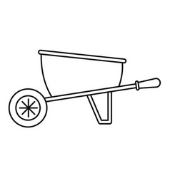 One wheel barrow icon outline style vector