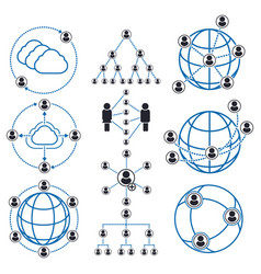 people connection and social network icons vector image