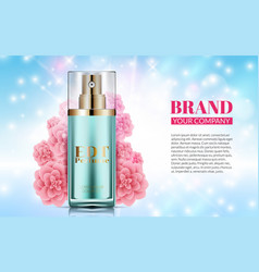 perfume bottle on soft blue background pink vector image