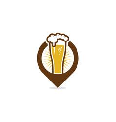 Pin beer logo icon design vector