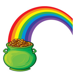 pot gold and rainbow vector image