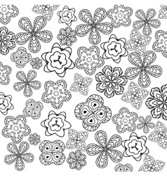 Relaxing coloring page with flowers for kids and vector