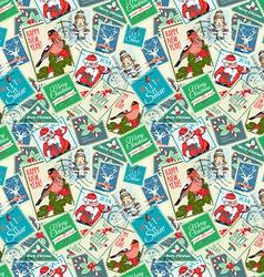 seamless background christmas postal stamps vector image