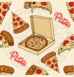 seamless pattern with pizza and olives design vector image