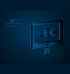 seo symbol low poly monitor and seo polygonal vector image