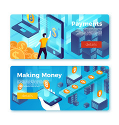 set banner templates with online payment vector image