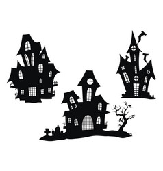set haunted houses for halloween collection of vector image
