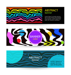 set horizontal color banners with rainbow waves vector image
