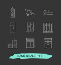 Set interior icons line style symbols vector