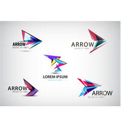 set of abstract arrow logos pointer vector image