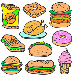 Set of food style various doodles vector