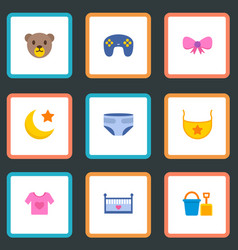 set of infant icons flat style symbols with bow vector image