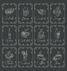 set of sketches of different dishes on blackboard vector image