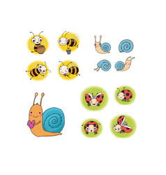 set with insects lovely cartoon bees snails and vector image