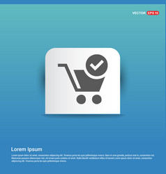 Shopping cart and plus sign - blue sticker button vector