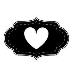 silhouette card love heart ornament vector image