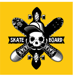skateboard emblem with skull and boards vector image