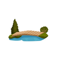 Small bridge made of wood planks blue pond green vector