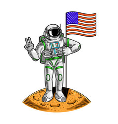 Spaceman on moon hold american vector