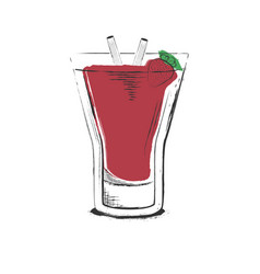 Strawberry cocktail hand drawn in sketch retro vector